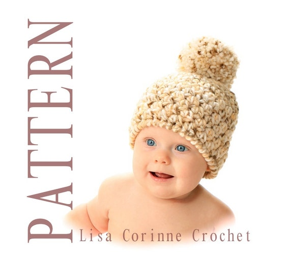 Winter Pom Pom Hat - Easy Crochet Instant Download PATTERN PDF - Infant Baby Newborn Toddler Child Teen Adult Sizes - Modern Fashion Cap