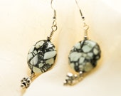 Turquoise and Black Mosaic Magnesite Earrings