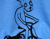 rabbit on a tricycle hand screen printed t-shirt
