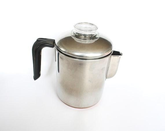 Revere Ware Percolator, 8 Cup Vintage Coffee Pot, 1970s Retro Kitchen, Copper Bottom, Vintage Housewares