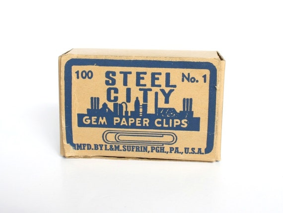 Paper Clips Steel City Gem Paper Clips Vintage Office Supplies Packaging Graphic Design Industrial
