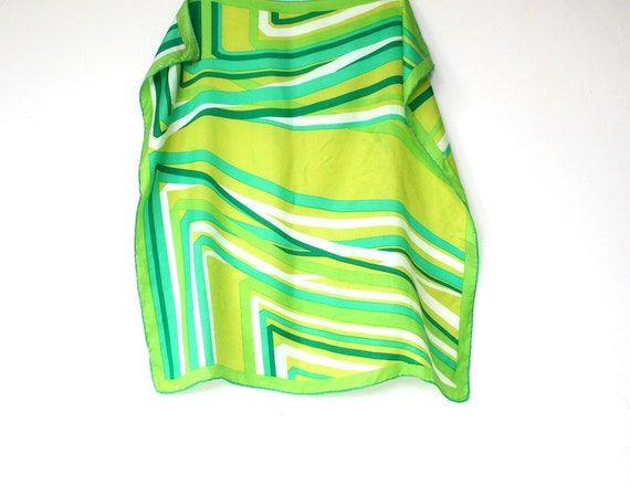 RESERVED for Ivana Scarf, Vera Neumann, Vera Scarf, 1970s Vintage Scarf, Green Abstract Design, Retro Fashion