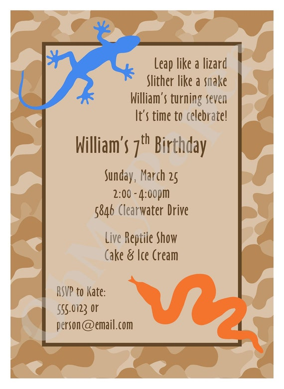 Reptile Party Invitations