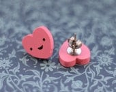 Hypoallergenic Studs : Happy Heart Pink Wood Studs -  Free Shipping Worldwide