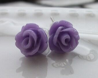 Tiny Lavender Rose Earrings
