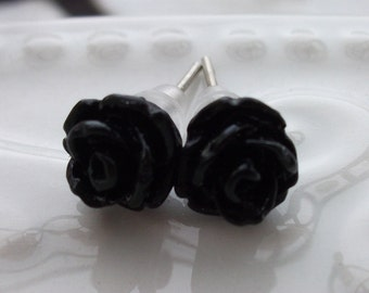 Mini Black Rose Earrings