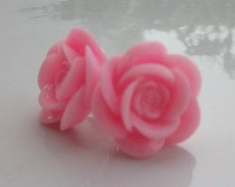 Large Bubblegum Pink Rose Earrings