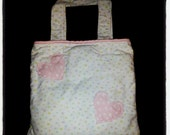 Repurposed, quilted, pink and blue flower patterned flannel tote/carry all