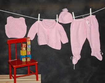SALE Vintage Pink Hand Knit Baby Layette Pants, Shirt, Sweater, and Hat  Size 6 - 12 Months