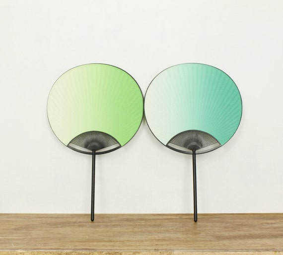 RESERVED//Vintage Ombre Light Green Paper Hand Fan