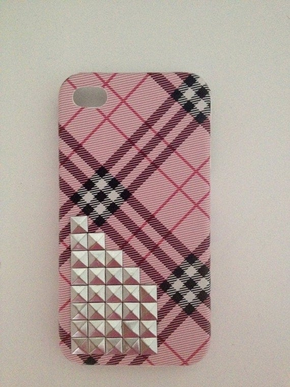 iPhone 4/4S Studded Pink Plaid Phone Case