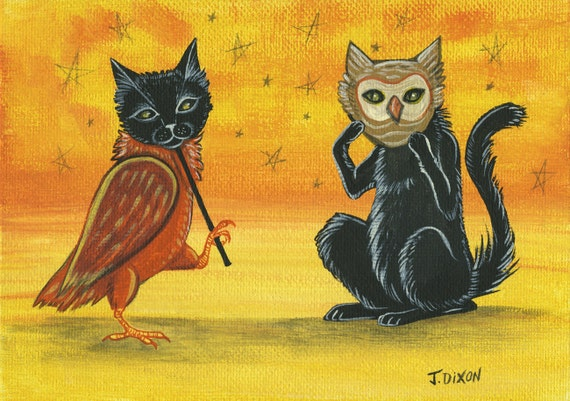 Halloween Costumed Cat and Owl, Original Painting