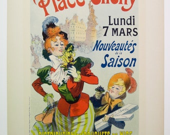 "Rene Pean, Original Maitres de L'Affiche Poster by, France 1899, Plate No.191.Ad for ""A  La Place Clichy"" a Paris Department Store."