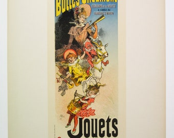 Jules Cheret, Original Maitres de L'Affiche Poster, France 1899, Plate No.185. Ad for Toys at Aux Buttes Chaumont Shop in Paris.