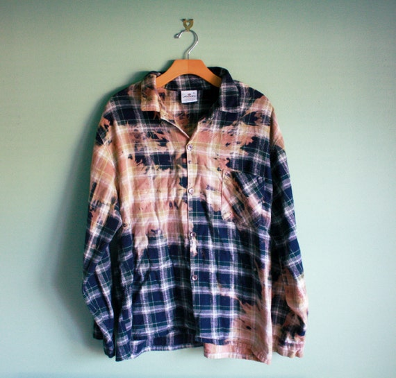 Bleached ombre tie dye flannel ONE OF A KIND