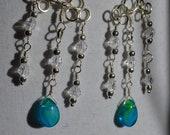 Turquoise and Clear Beaded  Wire Wrapped chandelier earrings, light blue chandelier earrings, three strand dangle chandelier