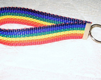 Sale Clearance Rainbow Acrylic Webbed Wristlet with Split Ring and Key Fob PRICE REDUCED  Free Shipping