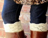 Scalloped Sweater Lace Design Crochet Handmade Boot Sock Toppers / Cuffs .
