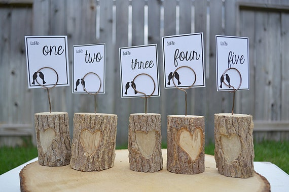 Reserved for Samara - Table Number Holder - Wedding Decoration - Set of 10 with 9 in Love Wire Wrap and 1 in Woodburned Initials