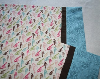 standard cotton multi colored bird and teal pillowcase set