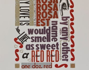 Rose letterpress poster hand printed using vintage wood type