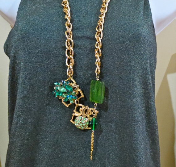 Statement necklace bold jewelry kelly green and gold beadwork chunky necklace upcycled vintage