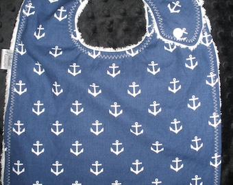 Toddler size 3-Layer Side snapping bib -  All Hands On Deck - White Anchors on Navy  print bib