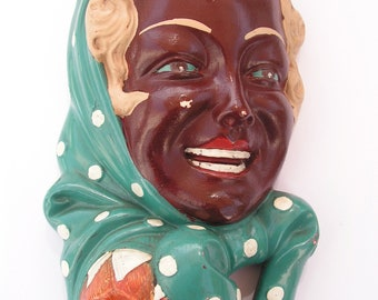 Ceramic Wall Hanger 1950s - Girl with headscarf - Scooter - Home Decor
