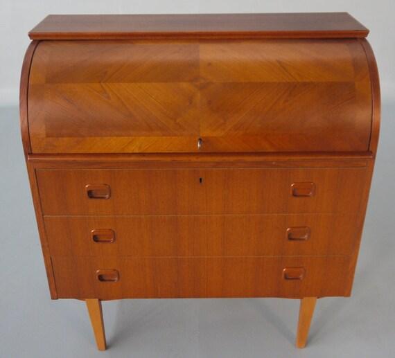 danish modern teak roll top cylinder desk secretary. Black Bedroom Furniture Sets. Home Design Ideas