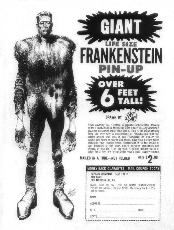 Halloween Decoration ..Vintage 6 Foot  FRANKENSTEIN Poster Sold by the Captain Company of. Famous Monsters of Filmland  1970's Jack Davis