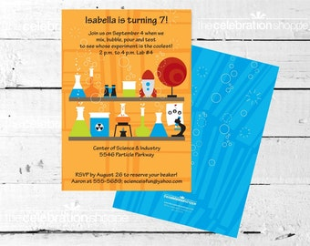 SCIENCE Birthday Party INVITATION from The Celebration Shoppe