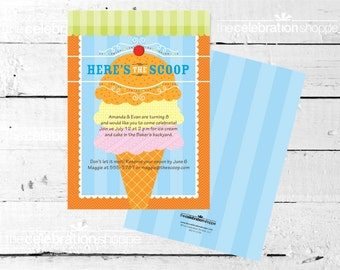 ICE CREAM Birthday Party INVITATION from The Celebration Shoppe
