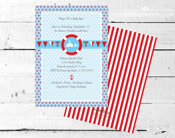 Little SAILOR Birthday Party PRINTABLE INVITATION from The Celebration Shoppe
