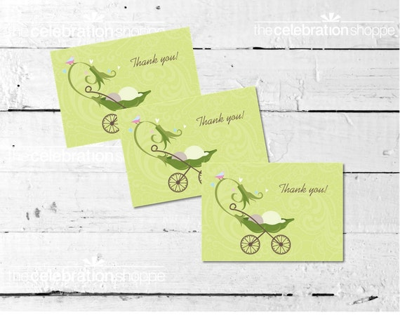 PEAPOD Carriage Baby Shower THANK YOU Note from The Celebration Shoppe