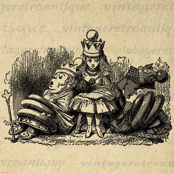 vintage clip art alice in wonderland - photo #29