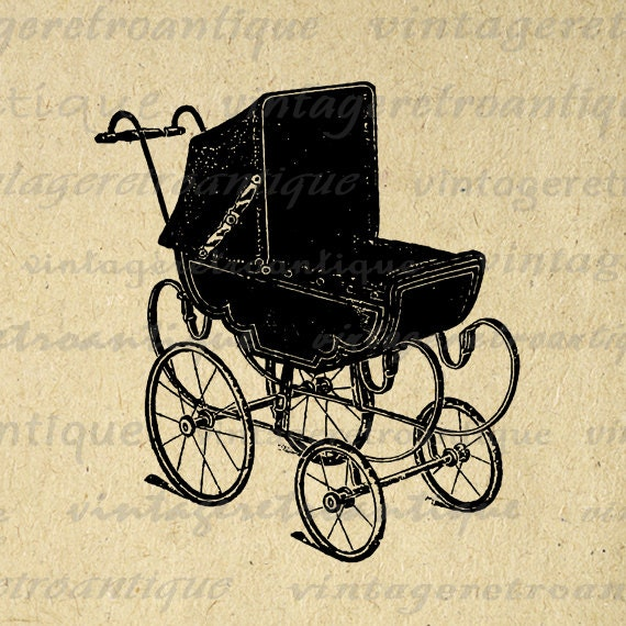 Antique Baby Carriage Digital Graphic by VintageRetroAntique
