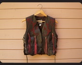 80s Harley Davidson like Fringed Biker Vest with Concho Buttons and Rose Leather Overlay S Small