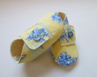 Lemon Yellow and Blue China Cotton Baby Shoes