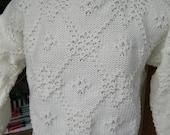 Sweater Soft White with Tuck Stitch Pattern