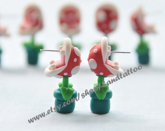 Sale-Nintendo Super Mario YOUCH Piranha Plant Earrings, Chomper Earring, Adorable Earrings, Easter Gift