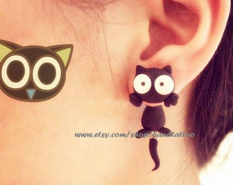 New Design 1 Pair Of Cute Lovey Black Kitty Dangling Earrings, Chomper Earring,  Unique Earrings, Cute jewelry