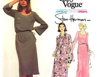 1970's Vintage Vogue American Designer Original Pattern 1523, Size 16, Stan Herman Misses' Dress and Evening Dress (Very Easy Vogue)