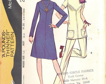 1971 Vintage McCalls Pounds-Thinner Pattern 2952, Size 12, Misses' Dress or Tunic and Pants