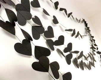 Rock & Roll Black Hearts Paper Wedding Garland - 20ft Length