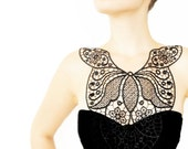 Dynasia // Handmade Black Crochet Cotton Lace Collar Necklace Applique Blouse Accessories