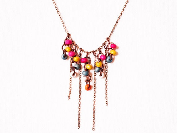 Engelia // FREE SHIPPING // Handmade Necklace - Pink / Yellow / Blue / White / Orange Wood Beads - Fringe - Golden Brass Chain  Cyber Monday
