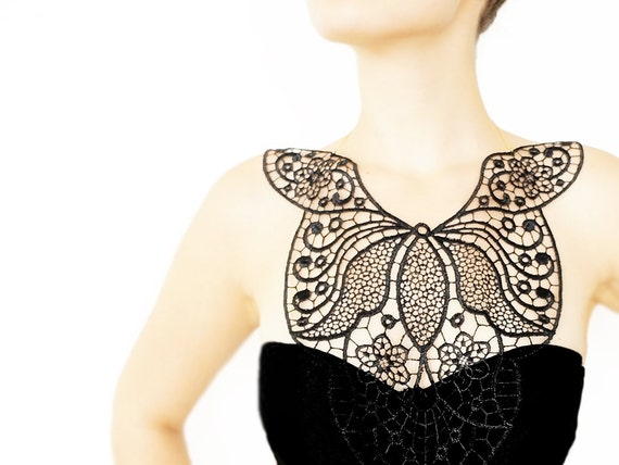 Dynasia // Handmade Black Crochet Cotton Lace Collar Necklace Applique Blouse Accessories