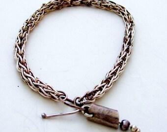 Fox Tail - Flexible Fine Silver bracelet , with swinging tail OOAK