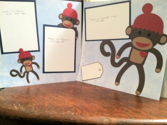 Sock Monkey Pre Made 12 x 12 Double Page Layout