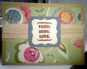 """Handmade Blank Note Card: Beige and Dusty Green/Blue w/ Hand-Stamped """"Faith.Hope. Love"""" and Gorgeous Ribbon Accent"""
